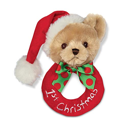 Bearington Baby's 1st Christmas Plush Soft Ring Rattle, 5.5""