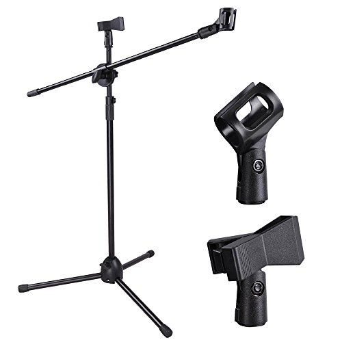 (AW Adjustable Height Microphone Stand Dual Mic Clip 90-Degree Rotating Folding Type Boom Arm Tripod)