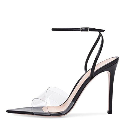 Cuero Zapatos Comodidad Club Verano de Shoes PU Caminar Mujer de Tacón Peep de la Color de Formal la de Zapatos Novedad sintético Sandalias la Zapatos para Caída de 37 Tamaño Aguja de Negro OUqBIB