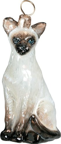 The Pet Set Blown European Glass Cat Ornament By Joy to the World Collectibles - Siamese Cat