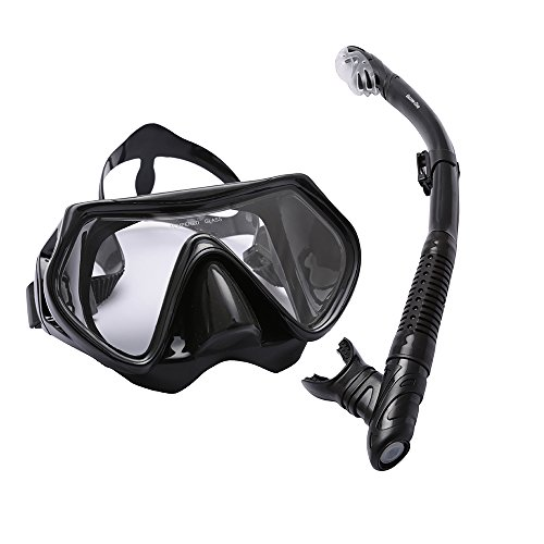 Adults Scuba Diving Mask Snorkeling Package Set Dry top Snorkel Purge Valve with Silicone Mouth Piece, Tempered Glass