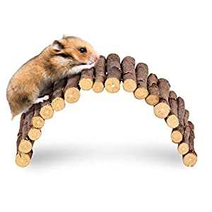 andwe Apple Twig Ladder Wooden Fun Bridge for Hamster Rats Sugar Gliders Mice Gerbils – Pet Cage Toys Habitat Decor