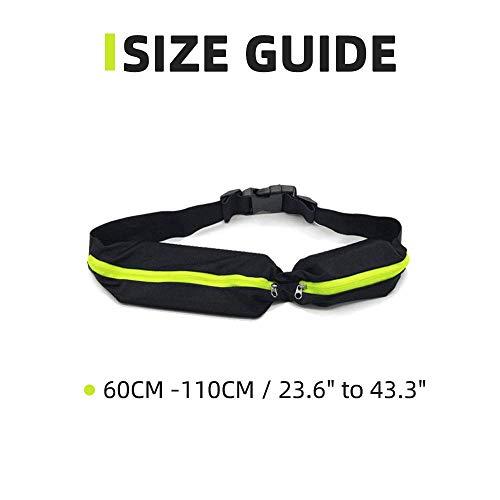 BeGrit Waterproof Running Belt Expandable Dual Pocket Running Waist Pack Adjustable Fanny Pack for Women Men Phone Fitness Jogging Sport Cycling Hiking Dog Walking Pack of 2 (Green + Rose Red)