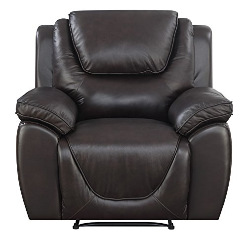 Mstar Saddie Top Grain Leather Match Lay Flat Power Recliner with USB Charging Port and Memory Foam Seat Topper
