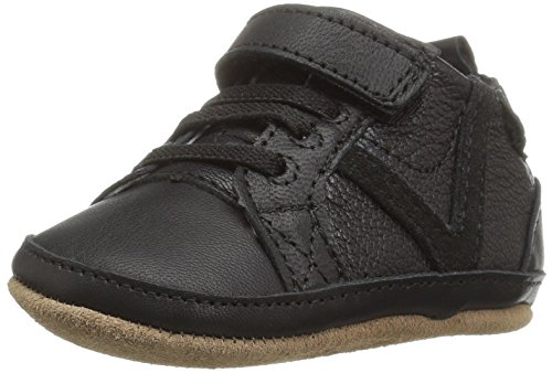 Robeez Boys' Asher Athletic Sneaker - First Kicks, Black, 12-18 Months M US Infant (Infant Soft Bottom Shoes Boys)