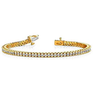 14K Yellow Gold Diamond Round Brilliant Channel Set Tennis Bracelet (2.98ctw.) - Size 9.25