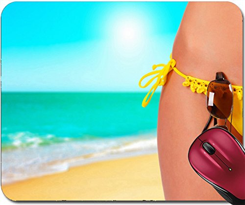 Liili Mousepad Closeup of a female body in a swimsuit with sunglasses A day beach concept Photo - Custom Sunglasses Imprinted