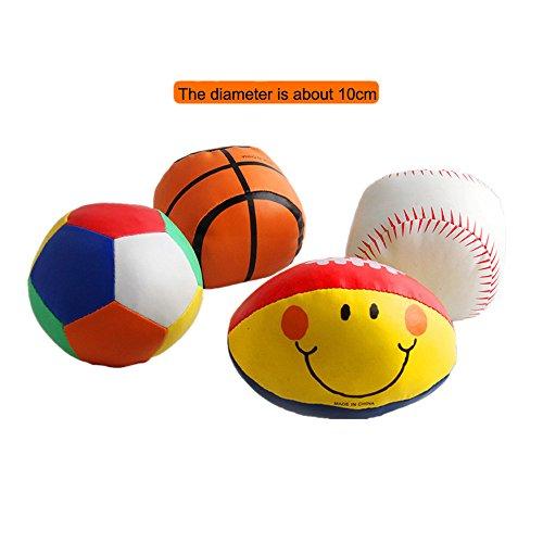 4pcs/set Mini Sports Toy Soft Balls Miniature Basketball Baseball Soccerball Softball Little League Sport Baby Boy Girl Party Favors Safe Indoor or Outdoor Play Stress Squeeze Balls (Miniature Baseball)