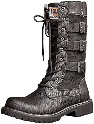 God s pen Boots Men s Black Tide High Boots with Motorcycle Boots, Large Size British Snow Boots