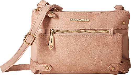 Rampage Womens Double Top Zip Multi Pocket Crossbody Blush One Size