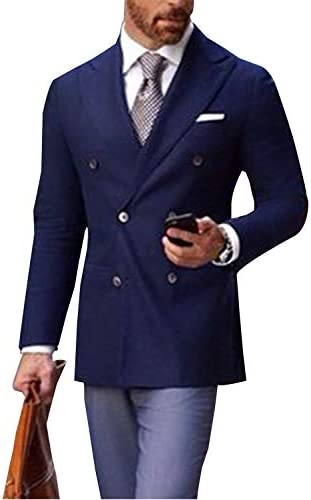 メンズスーツスリムフィットブレザーダブルブレストジャケットコート