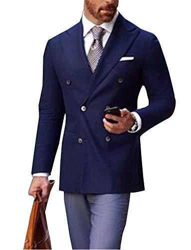 - QZI Men's Suit Slim Fit Blazer Double Breasted Jackets Coats Navy Blue