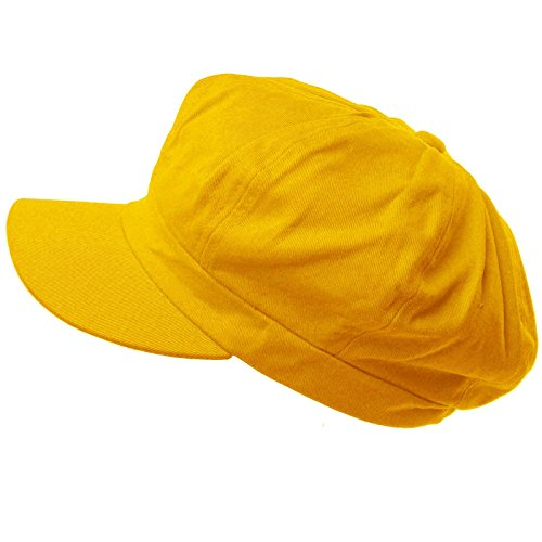 Summer 100% Cotton Plain Blank 8 Panel Newsboy Gatsby Apple Cabbie Cap Hat Yellow -