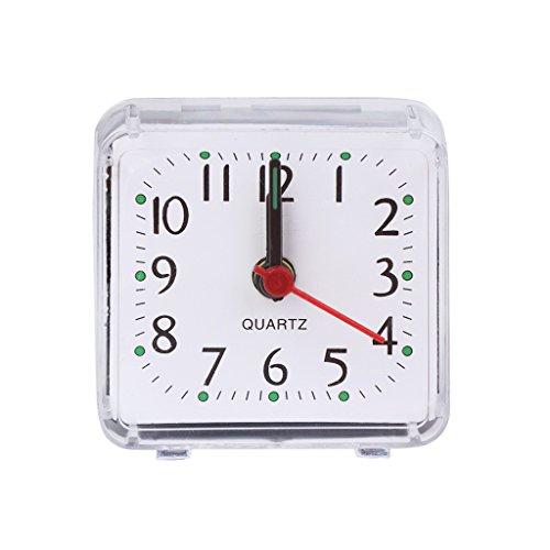 EA-STONE Modern Wall Clock,Square Crystal Mini Alarm Clock - White Battery Operated for Home Living Room ()