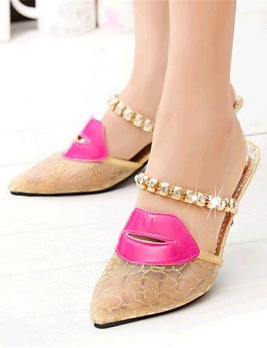 ShangYi Womens Shoes Tulle Stiletto Heel Heels / Slippers Heels / Slippers Casual Blue / Gold golden