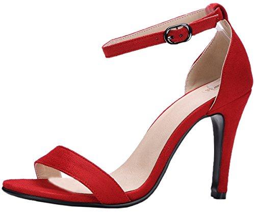 Pompes Femmes Bigtree Sandales Mariage Stiletto Peep Toe Sandales Habillées Bride À La Cheville Rouge