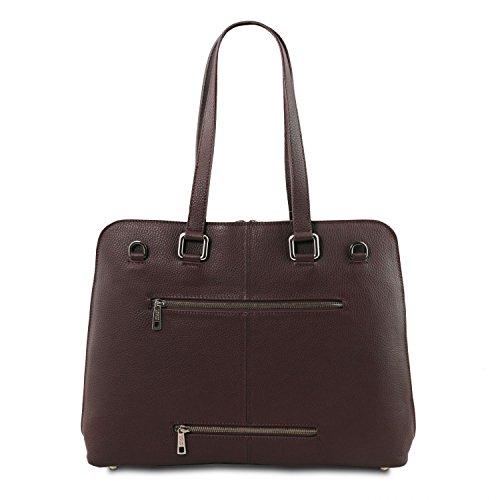Tuscany Leather - Lucca - Damen Business Tasche TL SMART aus weichem Leder - TL141630 (Rot) Dunkelbraun DD68rDRYO