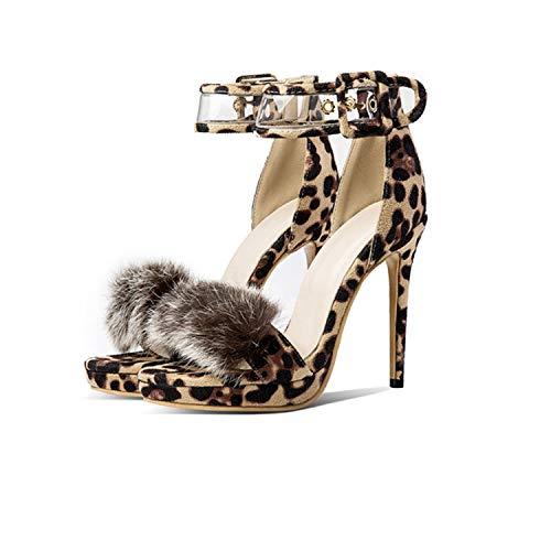 (Women Shoes Super High Heels Shoes Platform Sexy Leopard Print Sandals,Leopard Fur,6)