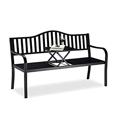 Relaxdays Black Metal Bench with Table in Middle