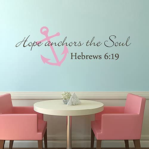 Amazon Com Hope Anchors The Soul Wall Decal Hebrews 6 19 Scripture Vinyl Wall Art Bedroom Anchor Wall Decal Dark Brown White L Kitchen Dining
