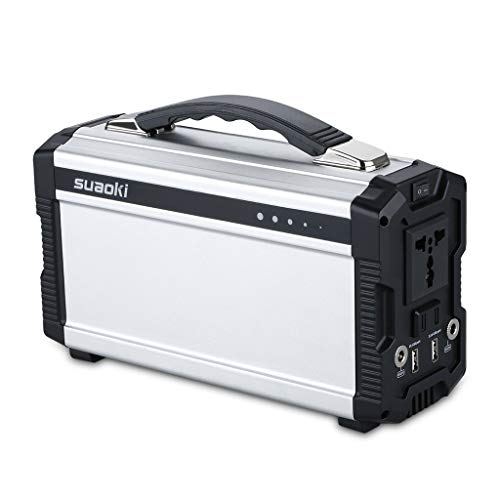 SUAOKI Portable Generator, 222Wh Power Station Power Supply Rechargeable Lithium Battery Pack with 110V/200W AC Inverter Outlet, Dual DC 12V & USB Ports for Camping Travel Emergency Backup Outdoors