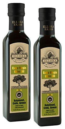 Ellora Farms | Certified PDO Extra Virgin Olive Oil | Traceable & Single Estate | First Cold Press | Harvested in Ancient Crete, Greece | 8.45 oz Bottles | Pack of 2 Estate Extra Virgin Olive Oil