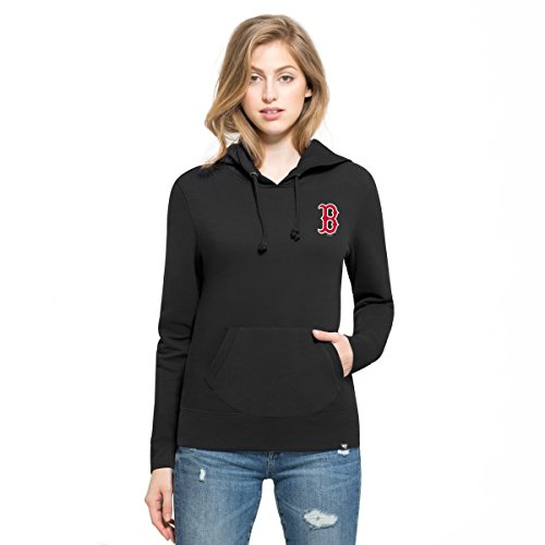 MLB Boston Red Sox Women's '47 Rundown Headline Pullover Hoodie, Jet Black, - Boston Sox Hooded Red Jacket