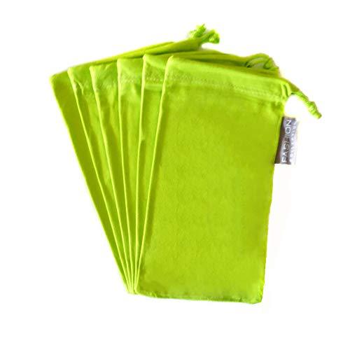 6 PC Sunglass Eyeglass Microfiber Soft Lens Cloth Carry Bag Pouch Case (GREEN)