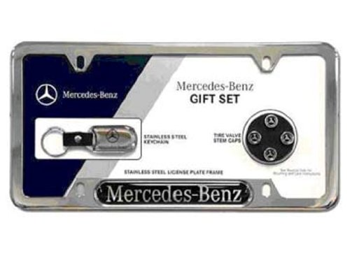 OEM Mercedes-Benz Q6990002 - Mercedes-Benz Gift Set -Stainless Steel License Plate Frame, Key Chain, and Tire Valve Stem Caps