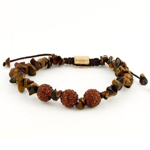 Gold Tone Tigers Eye Bracelet - REEDS Yellow Tiger's Eye and Brown Crystal Shamballa Stainless Steel Bracelet