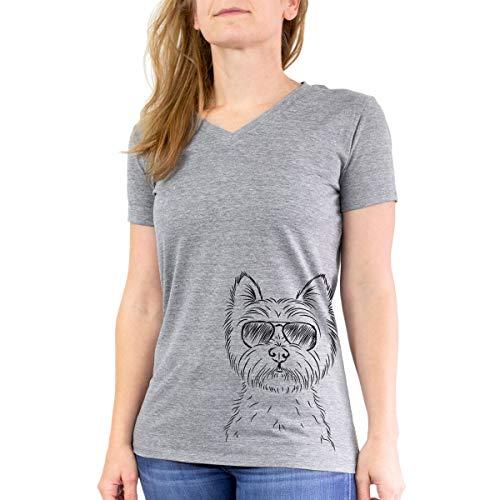 (Aviator Murphy The West Highland Terrier Westie Women's Triblend T-Shirt Modern Fit V-Neck Small Grey )