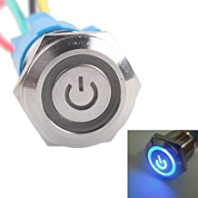 Etopars™ 19mm 12V 5A Power Symbol Angel Eye Halo Car Blue LED Light Metal Push Button Toggle Switch Socket