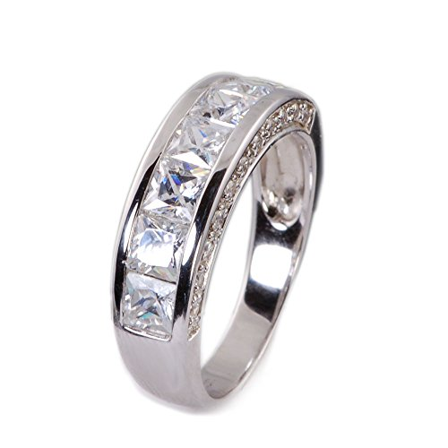 His & Hers 4pc Matching Halo Cushion Cut Cz Bridal Engagement Wedding Ring Set .925 Sterling Silver Size 5-13 (His 9 Her 8) by Sunee Jewelry And Gift (Image #5)