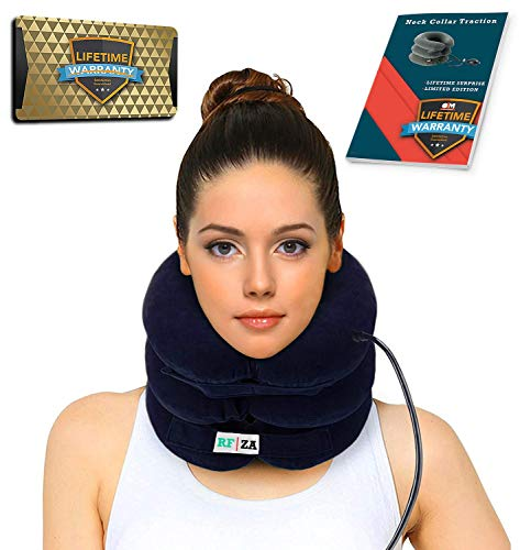 - Cervical Neck Traction | Air Neck Therapy | Adjustable Neck Stretcher Collar Device | Cervical Collar for Neck Support and Decompression - Neck Pain Relief (Blue)