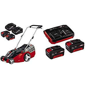 Einhell Cordless Lawn Mower GE-CM 43 Li M Power X-Change with Einhell 4512083 2X 3,0 Ah and Twincharger Kit PXC-Starter