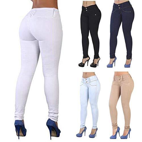 De Adelina Ajustados Alta Largos En Algodón Elásticos Mujer Vaqueros Mezcla Cintura Pantalones Blanco Ropa 4wqwUE