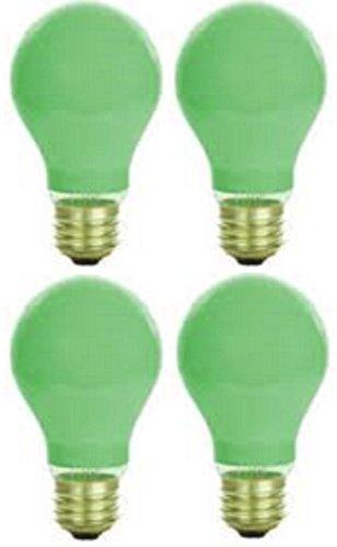 Pack Of 4 40 Watt A19 Ceramic Green Medium Base Standered Household Incandescent Green Colored Light Bulb
