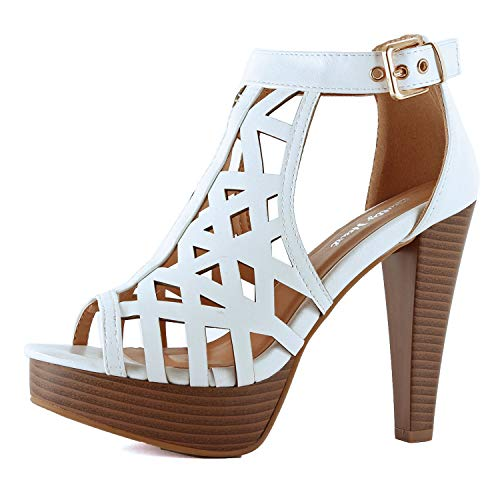 Guilty Shoes Womens Cutout Gladiator Ankle Strap Platform Block Heel Stiletto Sandals (7 M US, Whitev3 Pu)