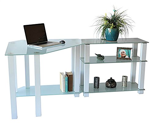 RTA Home and Office CT-01302W Frosted Tempered Glass Corner Computer Desk with Right Extension Table, Gloss White