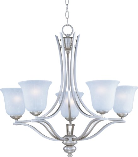 Maxim 10175ICSS Madera 5-Light Chandelier, Satin Silver Finish, Ice Glass, MB Incandescent Incandescent Bulb, 60W Max, Dry Safety Rating, Standard Dimmable, Opal Glass Shade Material, Rated Lumens