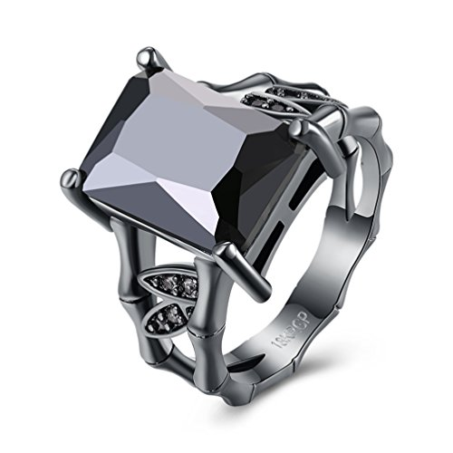 FENDINA Vintage Princess Cut Solitaire Ring Created Black Diamond Split Shank Radiant Engagement Eternity Rings for Women (Radiant Solitaire Ring)