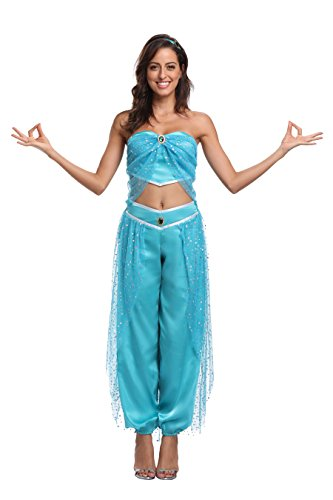 Aladdin Princess Jasmine Costume Set Fancy Dress Belly Dancer Costume Arabian Nights