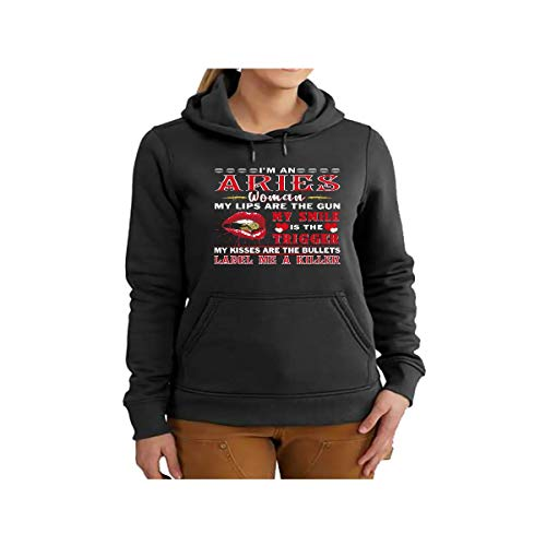 Aries Funny Birthday Gift - I Am an Aries Woman My Lips are The Gun Shirt
