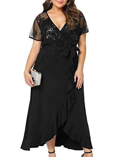 Women's Plus Size V-Neck Stretch Lined Floral Flare Sequin Casual Party Cocktail Dress Black