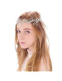 Silver Rhinestone Pearl Bridal Headband Handmade Wedding Hair Jewelry