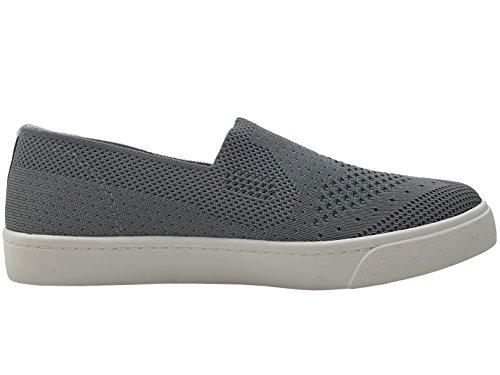 Soda Slip On Sneakers In Tessuto Elasticizzato Scarpe Comode Punta Chiusa Grigio