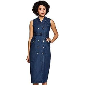 Amazon Brand – Inkast Denim Co. Women's Solid Shirt Sleeveless Dress