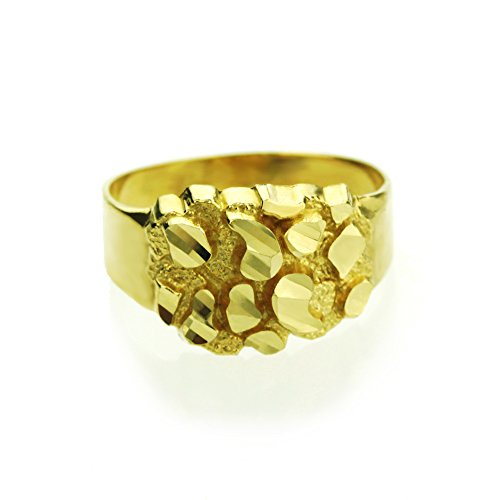 14K Yellow Gold 9mm Solid Nugget Ring (Size 1 to 5), 3 (Ring Yellow Nugget Gold)