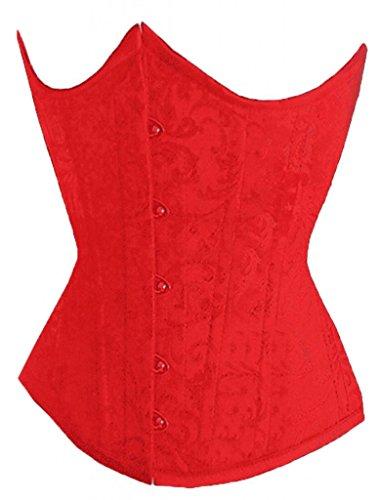 Alivila.Y Fashion Flower Tapestry Underbust Corset 2686 With G-String-Red-XXL/Bust:38-40inch Waist:32-34inch