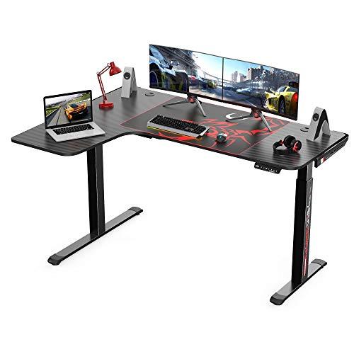 Eureka-Ergonomic-Standing-Desk-61-Electric-Height-Adjustable-L-Shaped-Corner-Desk-Home-Office-Standing-Computer-Desk-Modern-Workstation-Writing-Desk-Table-with-Free-Large-Mouse-Pad-Black-Left-Side